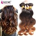 8A Ombre Brazilian Virgin Hair Extensions 1B/4/30# Three Tone Ombre Brazilian Body Wave Unprocessed Human Hair Weaves 4 Bundles