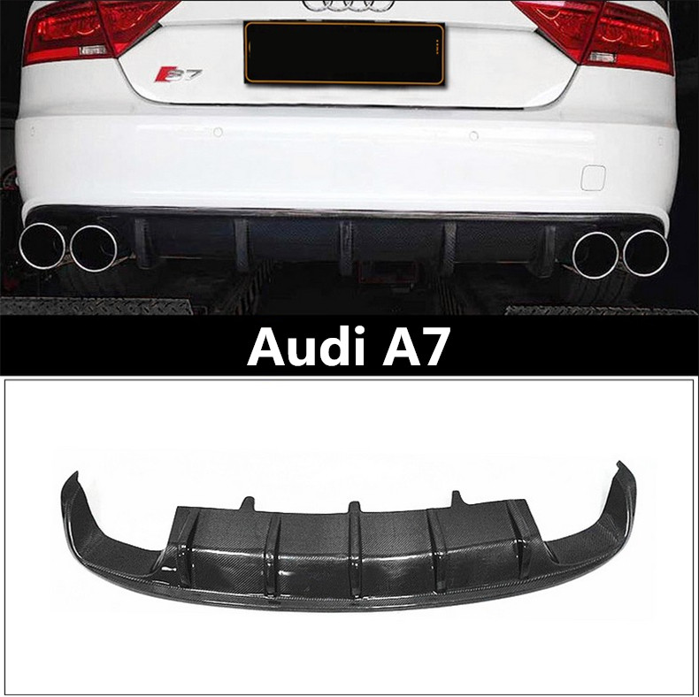 Auto Carbon Fiber <font><b>Rear</b></font> Lip Spoiler For <font><b>Audi</b></font> <font><b>A7</b></font> 2016 2017 2018 High Quality Bumper <font><b>Diffuser</b></font> Car Accessories image