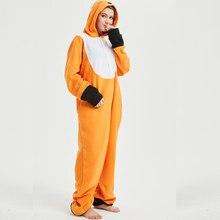 35cd7d170bc8 Soft Fox Kigurumi Onesie Animal Cartoon Pajama Orange White Onepiece  Sleepwear For Adult Women Halloween Suit Festival Outfit