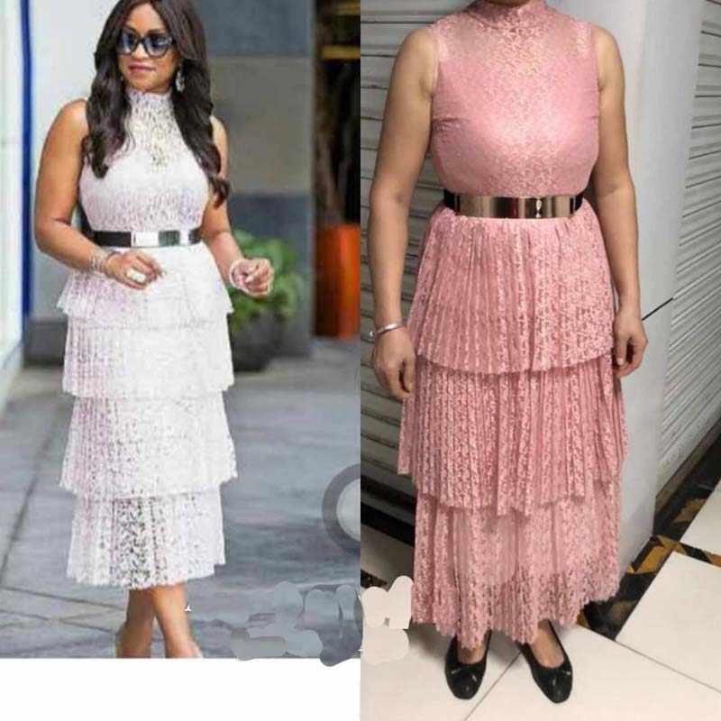 Afrikanische Kleidung Spitze Gefaltetes Kleid Frauen 2019 Sleeveless Drehen-unten Kragen Aushöhlen Lange Maxi Kleid Gürtel Weiß Rosa robe Runway