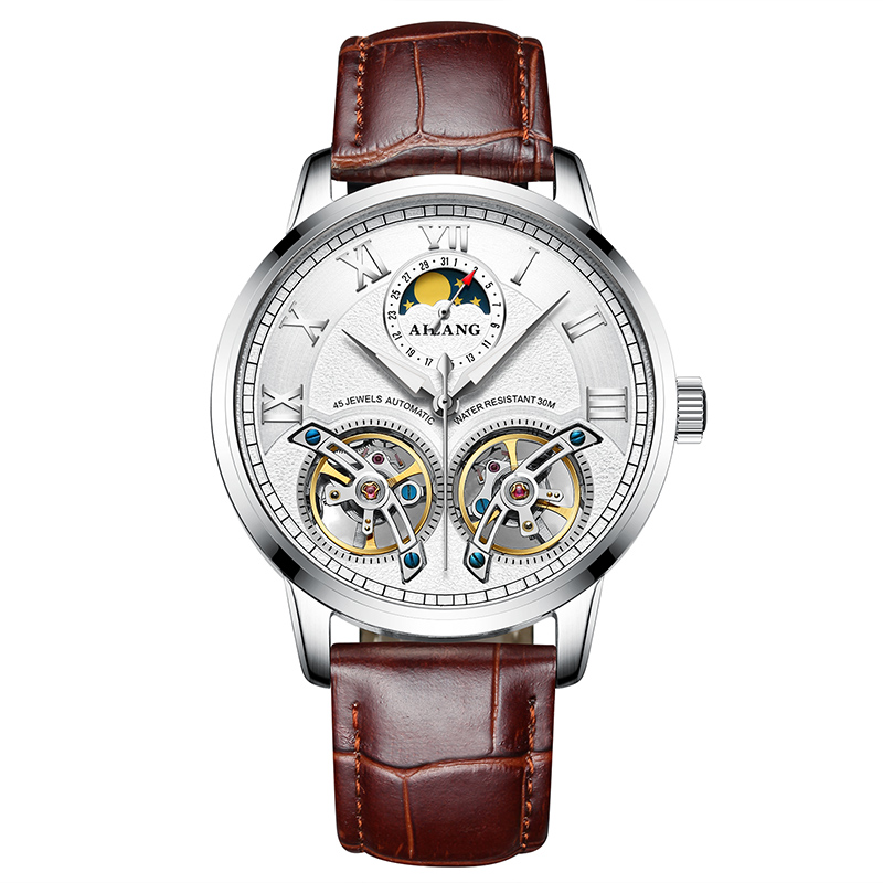 AILANG 8221A Switzerland watches men luxury brand Automatic Double Tourbillon Moon phase Hollow Business Watch relogio masculino ailang 8221a switzerland watches men luxury brand automatic double tourbillon moon phase hollow business watch relogio masculino