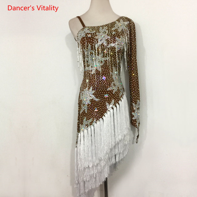 Sexy Single sleeve Latin Dance Performance Clothes Embroidery Diamonds Dress Women Childrens Latin Dance Competition Costumes
