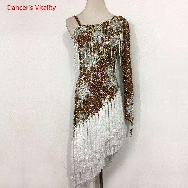 Sexy única manga latina dança desempenho roupas bordados diamantes vestido feminino crianças latina dança trajes competição