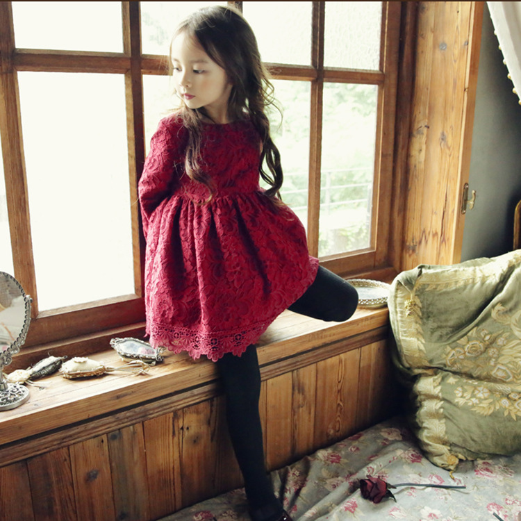 2017 Autumn Girls Lace Dress Baby Girl Princess Long Sleeve Big Bow Dress 2-8 Y Children Clothes Kids Party Clothing for Girls lace party big baby girl dress long sleeve autumn cotton bow red white princess dress kids baby girl dress children clothing