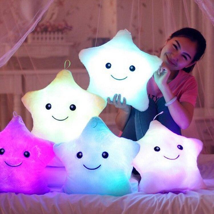 Novelty Cute Pink Luminous Pillow Stars Light LED Novelty Lamp Nightlight Led Light Toys Gift For Girl Kids Christmas Birthday