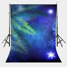 цена на 150x220cm Starry Night View Backdrop Falling Snow Green Tree Photography Background