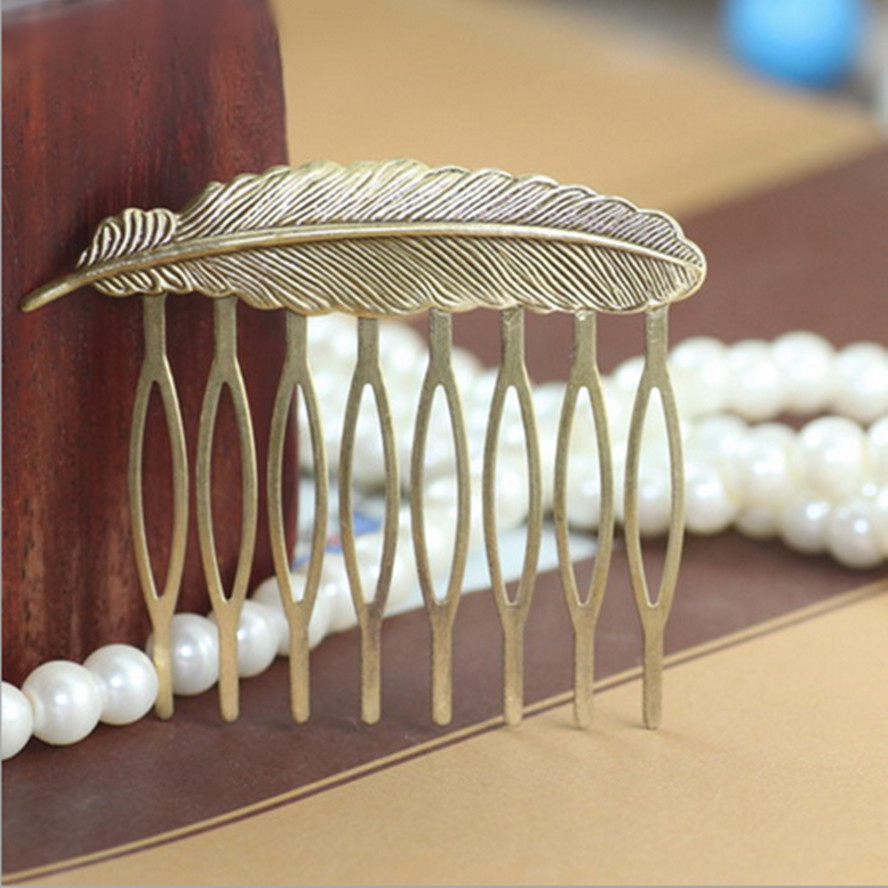 Antique Bronze Feather hair comb for hair Woman lady retro vintage Filigree Wedding Hair Comb headwear Accessories