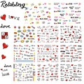 Rolabling 11pcs/set Valentines Sexy Lips & Love Series Design DIY Nail Art sticker nail Decal for Water transfer decal sticker