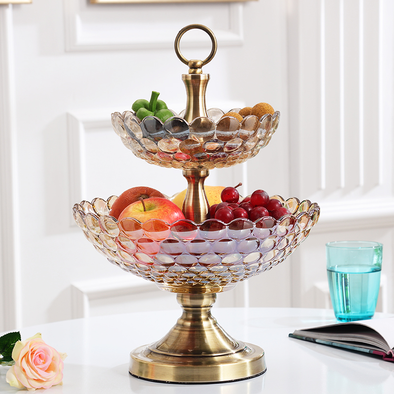 Top quality American Crystal glass Fruit tray living room Decor Fruit Food double deck fruit bowl