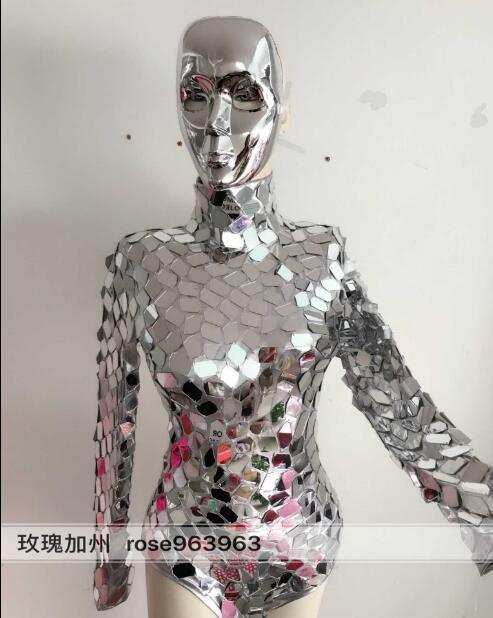 Светоотражающее зеркало боди серебро комбинезон с блестками ночной клуб Женский DJ для певицы для сцены наряд Джаз танцевальный костюм маши