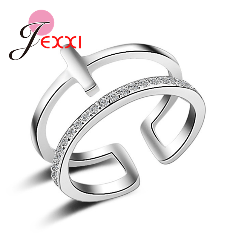 JEXXI Charms Fashion Silver Rose Gold Hollow Double Layer African AAA Crystal T Ring for Women Midi Knuckle Rings Jewelry