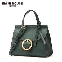 EMINI HOUSE Split Leather Women Flap Handbag Bow Tie Tassel Round Lock Crossbag For Women Roomy