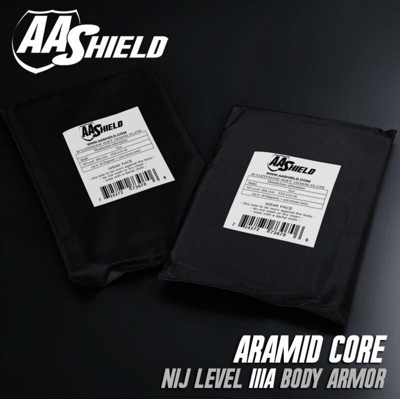 AA Shield Bullet Proof Soft Panel Body Armor Inserts Plate Aramid Core NIJ Self Defense Supply Lvl IIIA 3A 8X10 Pair