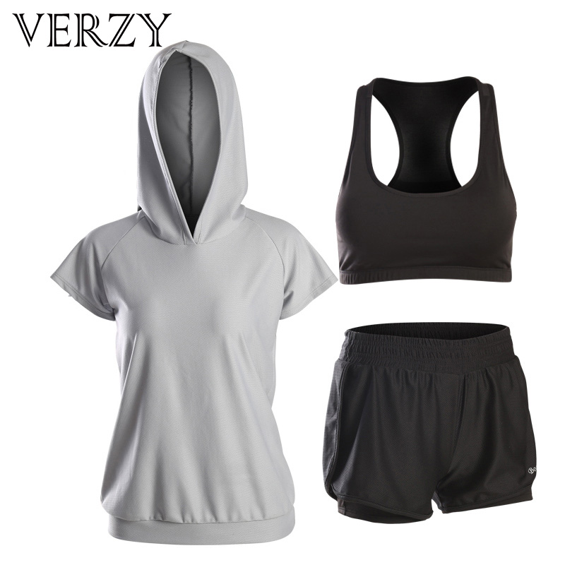 VERZY New Women Quick Dry Yoga Set Gym Running Tights Suit Short Sleeve Sports Top T-shirt+Bra Set Professional Workout Fitness phases for life lp