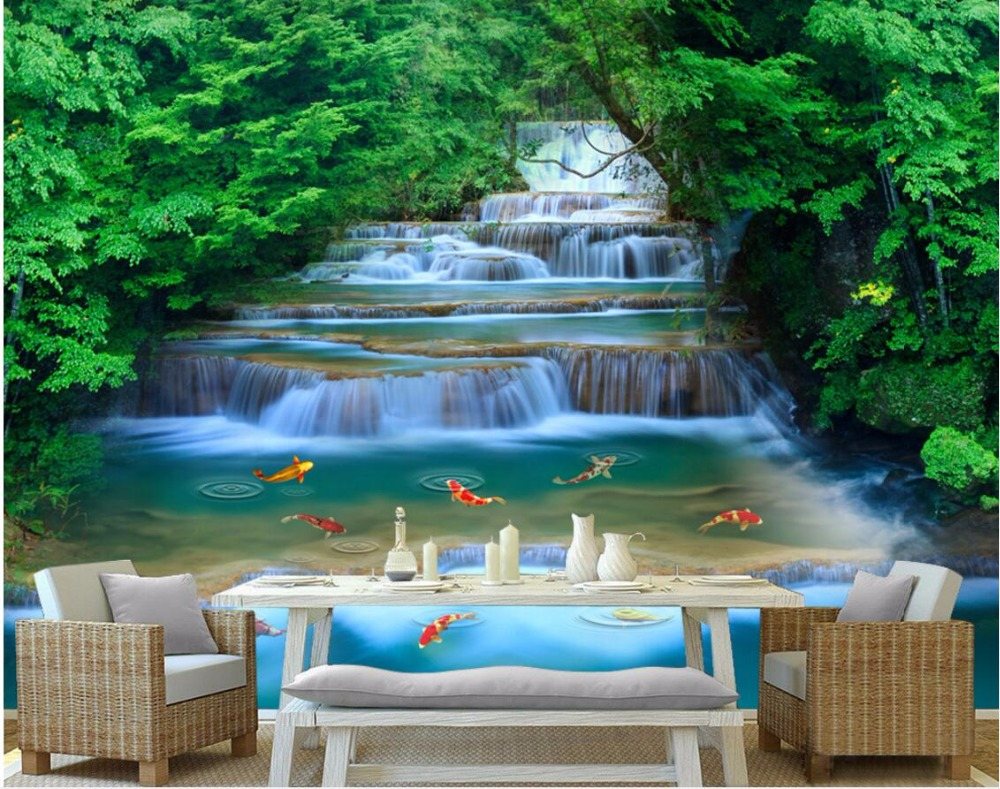 US $14 49 OFF Custom Mural 3d Wallpaper Forest River Waterfall Home Decoration Painting 3d Wall Murals Wallpaper For Living Room Wall 3