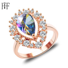 2018 Charming Ocean Blue Opal Rings Aqua/White CZ Rose Gold Filled Women Engagement Ring Fashion Style(China)