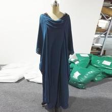 New Real Mother Of The Bride Dress Natural Floor length Cap Sleeve Ruffles Chiffon Moroccan Kaftan