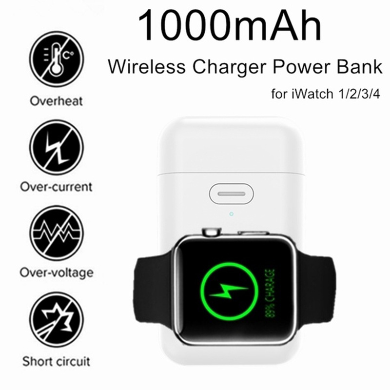 Portable Mini Wireless Charger External Battery Pack with 1000mAh Lithium Battery Power Bank for Apple Watch Series 1234