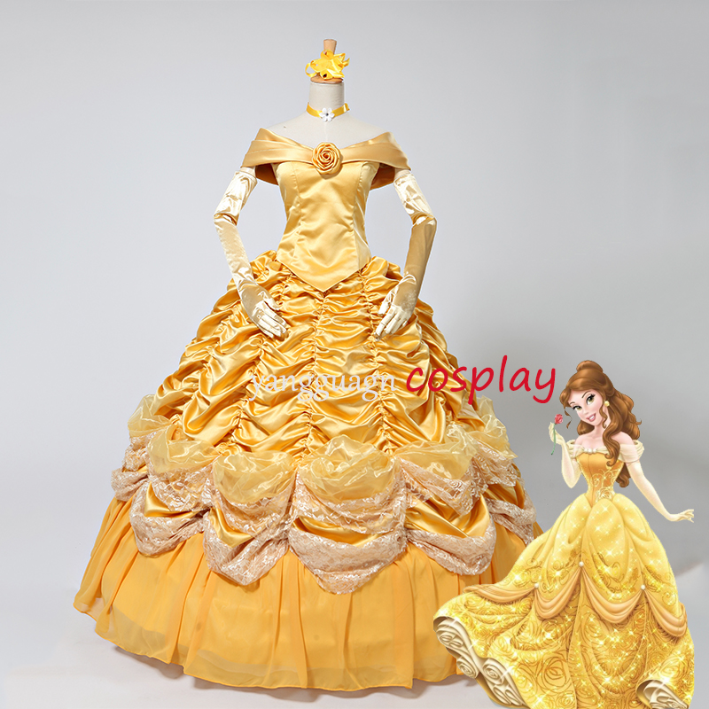 Princess dress Costume beauty and the beast Belle Dress Adult Dress yellow gown dress v01