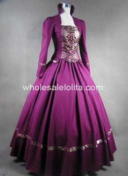 Purple Gothic Victorian Brocade Dress Ball Gown Dress