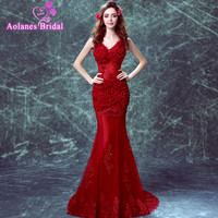2017 100% Real Picture 2017 V neck Red Evening Dresses Mermaid Sleeveless Appliques Lace Flowers Long Evening Gowns Prom Dress