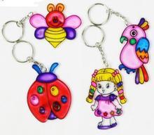 Kids Keychain Painting with Six Colors Pigment Children Art Diy font b Toys b font 1set