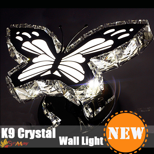 ФОТО Modern Crystal wall light fashion wall bracket crystal k9 Golden Modern wall lamps crystal Butterfly Shape Luxury sconce