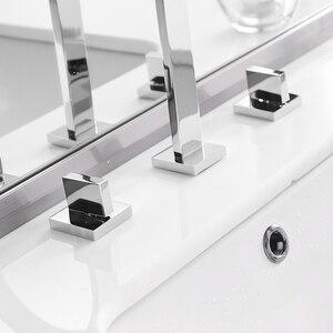 Image 3 - Bacia torneiras de latão polido chrome deck montado quadrado pia do banheiro torneiras 3 buraco dupla alça água quente e fria LT 109