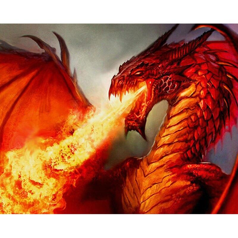 Diamond Red Dragon Painting