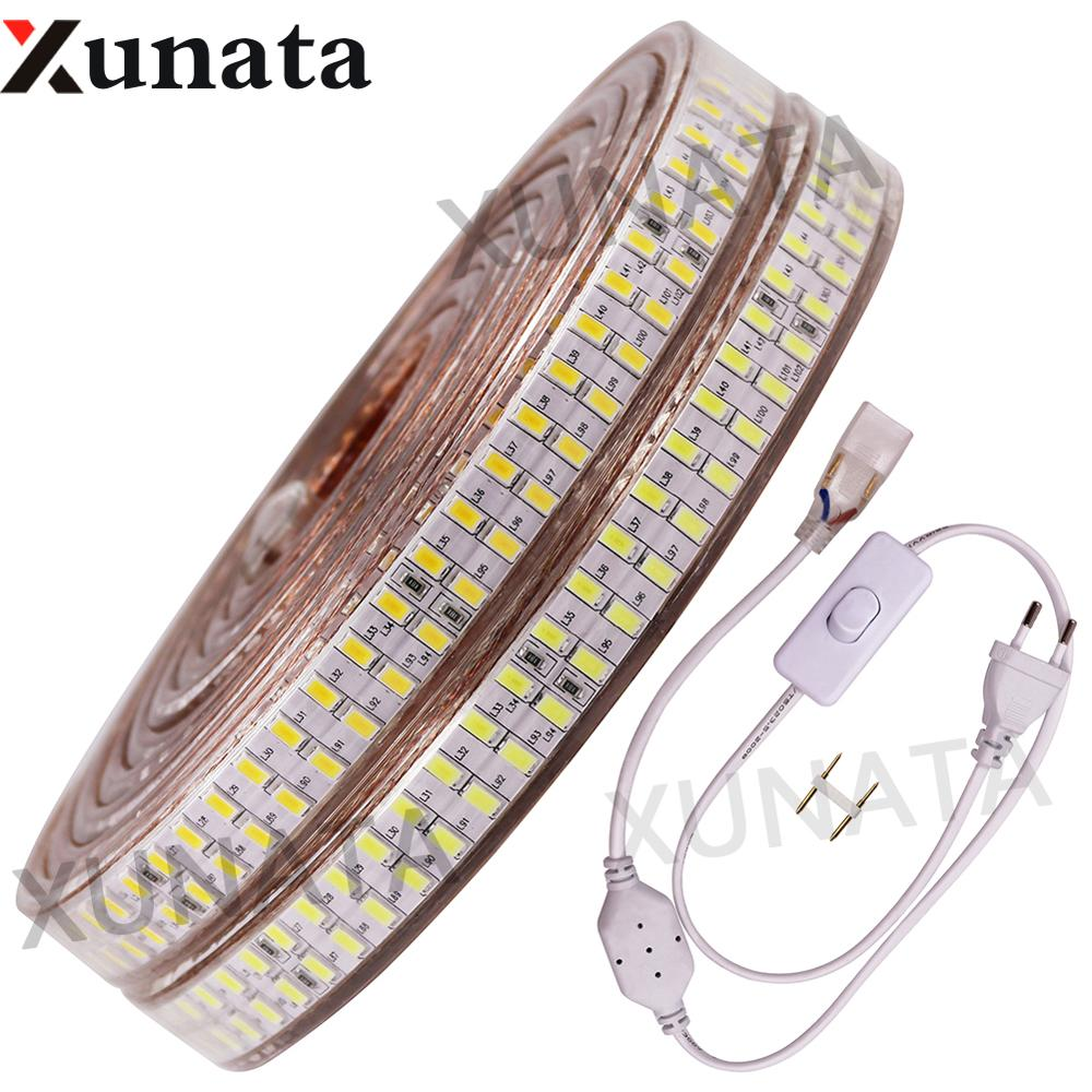 5730 LED Strip AC220V Neon Rope Light 180/240Leds/m Flexible Waterproof LED Ribbon With Switch EU Plug Home Outdoor Decoration