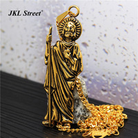Mens Black Gold Standing Christ Jesus Pendant With 27 5 Inch Cuban Curb Chain Preaching Jesus