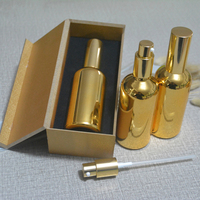 4pcs 100ml lotion pump press bottle,high temperature gold plated refillable empty bottle with wooden box cream subpackage jar