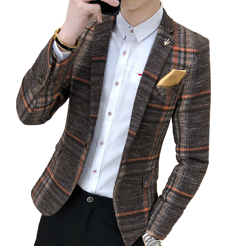 Men's Fashion Boutique Fashion Houndstooth Wedding Dress Suits Blazers / Mens Pure Color Casual Business Plaid Suit Jacket Coat