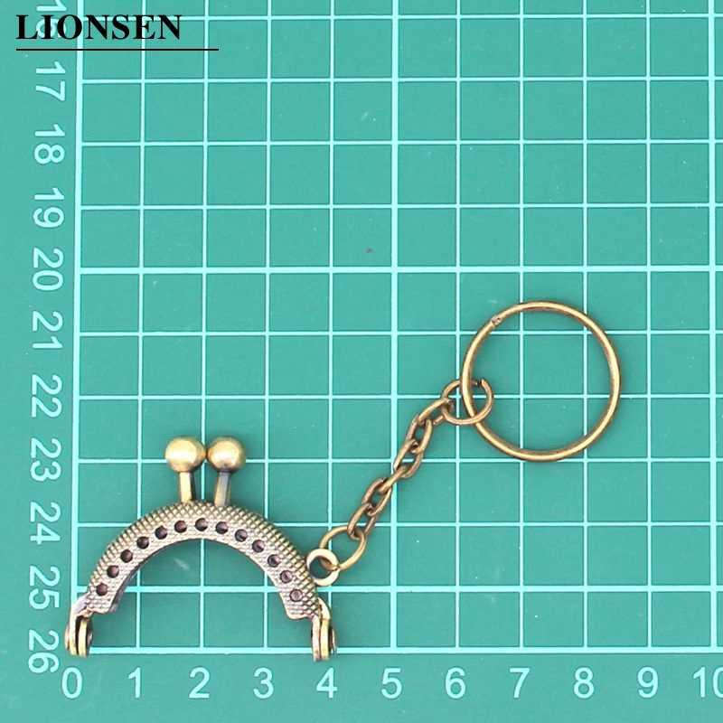 Lionsen 4cm monedero de Metal bolsa de cambio de marco de monedero con llavero 5 colores marco beso cierre cerradura DIY artesanía cartera Accesorios