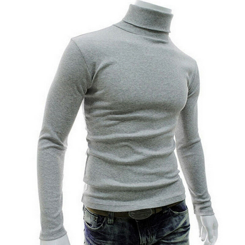 Men Pullover Sweatshirt Turtleneck Slim-Fit Knitted Long-Sleeve Casual Lightweight