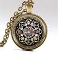 Tibetan Buddhist mandala necklace Sacred geometry Jewelry Necklace Spiritual accessory black men mandala pendant