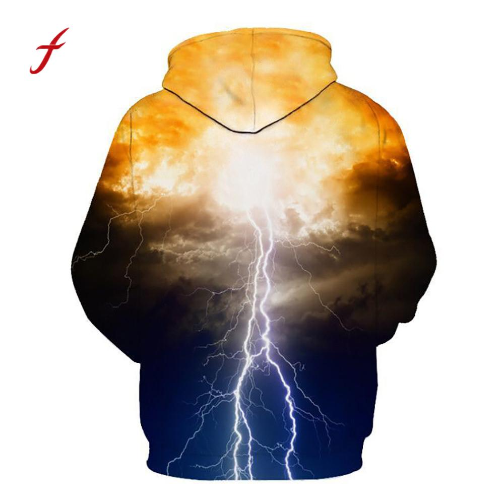 feitong Unisex Couple 3D Printed Lightning Gradient Harajuku large Puls Size Pullover Women Men Casual Hooded Sweatshirt Tops