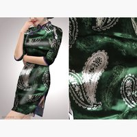 2016 New Arrival Silk Burnout Bandanna Fabric Dress Cloth Half Transparent Green Color Free Shipping