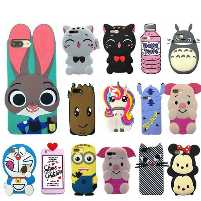 3d cute case for iPhone 7 plus cartoon soft silicone case for iPhone 7 rabbit kitten rubber cover for iphone 6 6s plus 5 5s SE