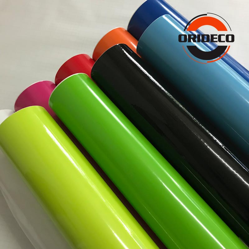 1.52*5/10/15/20/30M 2-layer Glossy Vinyl Film Wraps Gloss Blue Red  Silver Shiny Car Wrap Film Coveres With Air Free ORINO