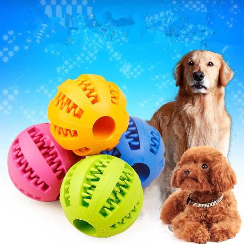 Dog Supplies Funny Dog Cat Teeth Rubber Ball Chew Ball Treat Dispenser Puppy Dental Play Toy