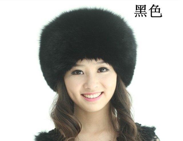 H425~wholesale,Genuine Fox hair cap  for women, Autumn winter luxury skullies, fashion design black ladies fur hat