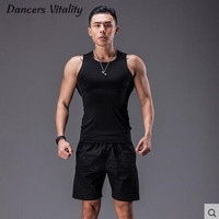 Men S Jogging Fitnesswear Set Sleeveless Tights Tights Shorts Shorts Shorts Breath Breath Super Stretch Training