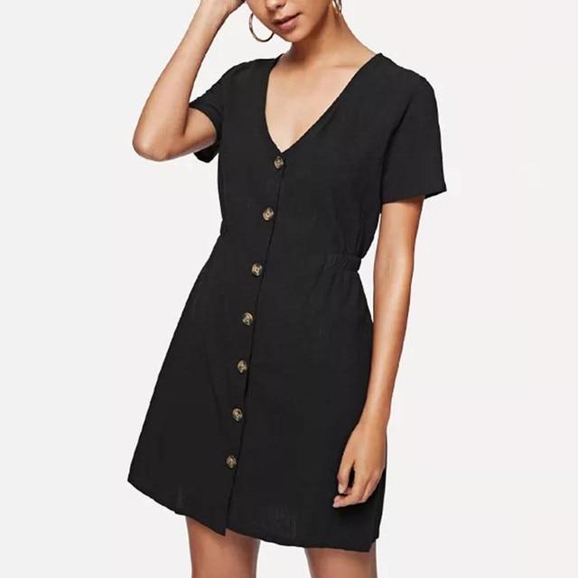 187bec42e7 Women Short Sleeve V Neck Slim Mini Dress Loose Autumn Casual Dresses  vestido vestidos robe femme vestidos verano 2018  2S
