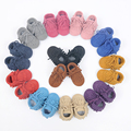 Hand-made Genuine Leather Fringe Baby boots First Walkers lace-up Cow Suede baby moccasins Baby Shoes 11.5-14.5CM