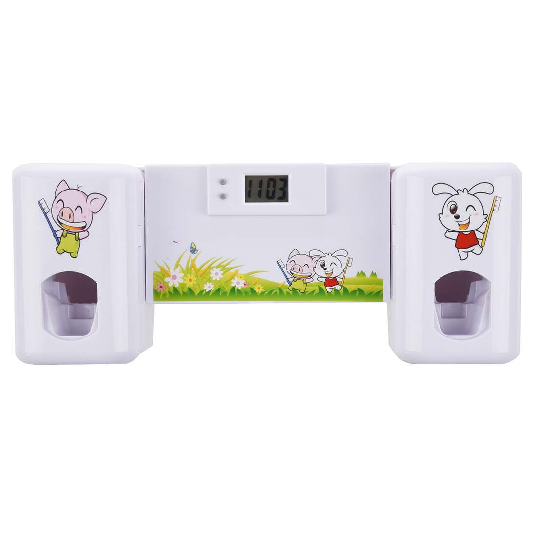 Automatic Toothpaste Dispenser Toothbrush Holder Set Wall Mount Rack Bath Oral-White Animals Bathroom accessories image
