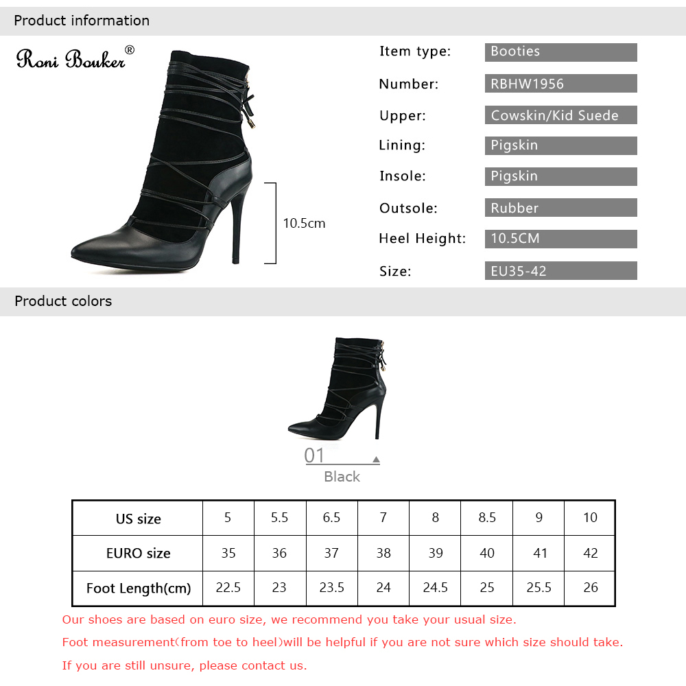 Roni Bouker Fashion Designer Shoes Women Genuine Leather Handmade Booties Woman Lace Up Ankle Boots Lady Black High Heels - 5