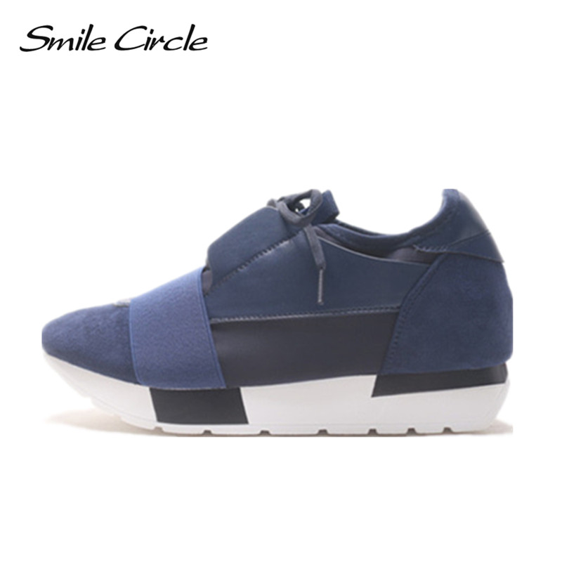 Smile Circle Spring Autumn Shoes Women Fashion Pointed toe Lace-up Sneakers For Women Flat Casual Platform Shoes tenis feminino smile circle spring autumn women shoes casual sneakers for women fashion lace up flat platform shoes thick bottom sneakers