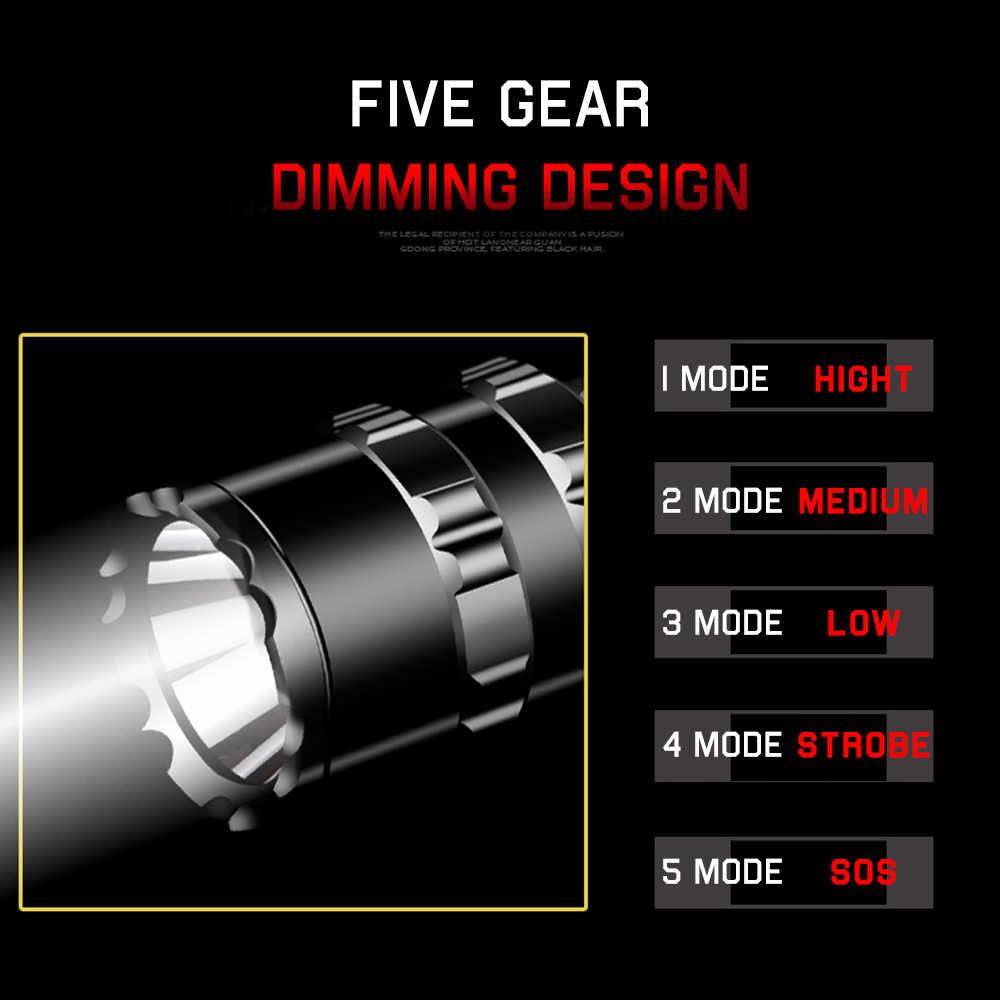 2000 lümen taktik el feneri LED İzci L2 Ultra parlak avcılık balık işık USB şarj edilebilir su geçirmez el feneri 5 modları 1*18650