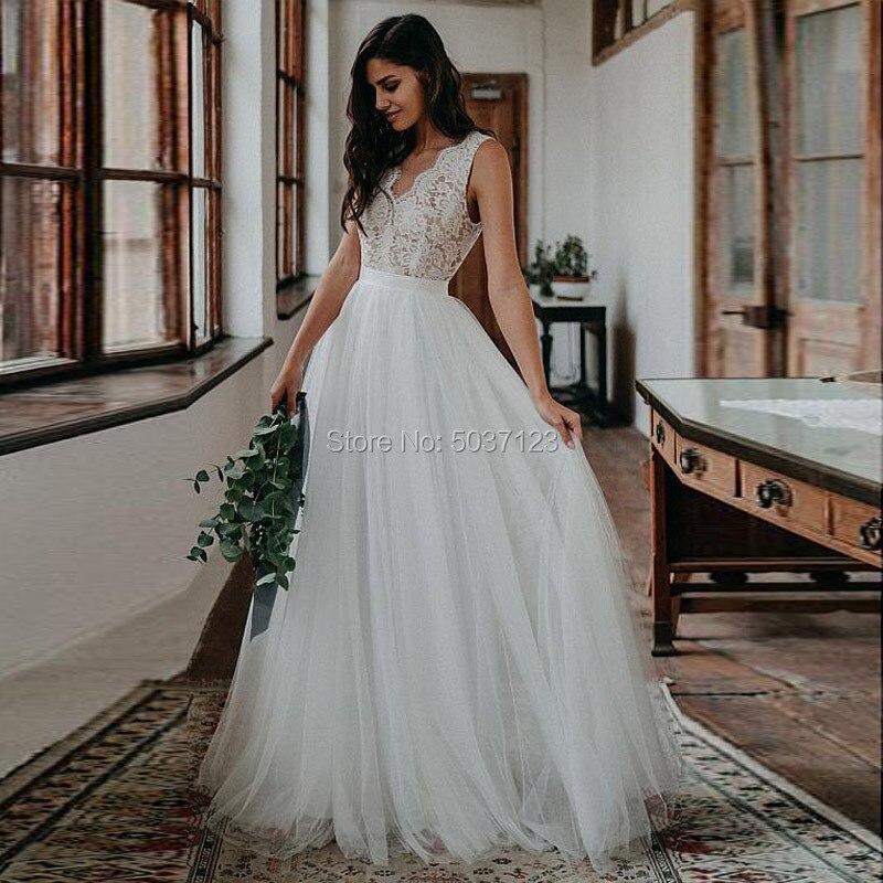 Beach A Line Tulle Wedding Dresses V Neck Sleeveless Lace Appliques Open Back Bridal Gowns Floor Length Robe De Mariee Custom